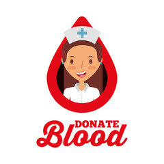 nurse medical drop donate blood vector illustration