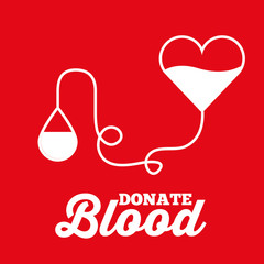 heart bag and drop transfusion donate blood red background vector illustration