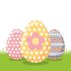 decorate floral easter eggs on field vector illustration