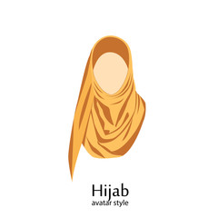 Women wearing hijab. Avatar icons in flat style.