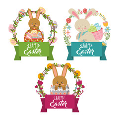 collection bunnies floral decoration frame happy easter vector illustration