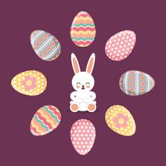 happy rabbit sitting frame eggs decorative festive vector illustration
