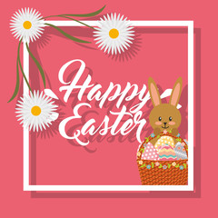 beautiful rabbit holding basket frame flowers decoration happy easter vector illustration