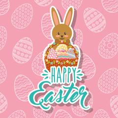 rabbit holding decorative basket with eggs happy easter vector illustration