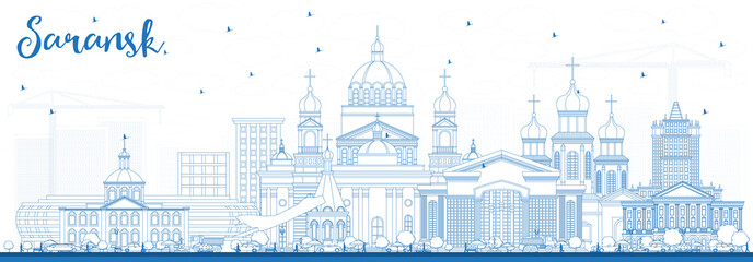 Outline Saransk Russia City Skyline with Blue Buildings.