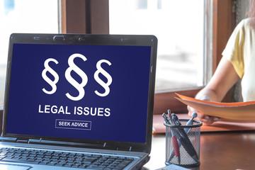 Legal issues concept on a laptop screen