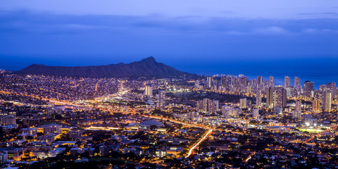 Honolulu and Diamond Head, Hawaii.