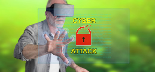 Man wearing a reality virtual headset touching a cyber attack concept on a touch screen