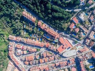 Aerial views of a residential neighborhood