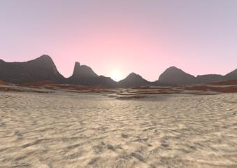 3D Rendering Desert Sunrise Landscape