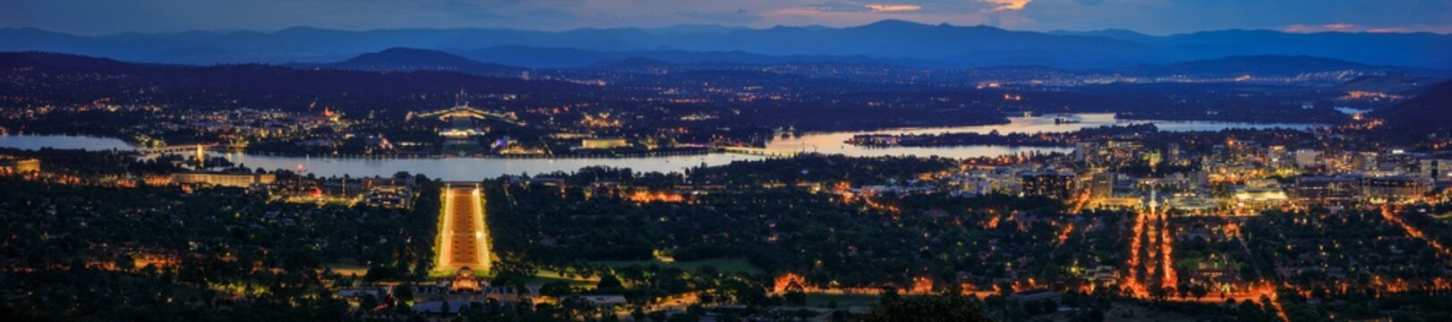 Canberra City Blue Hour Panorama