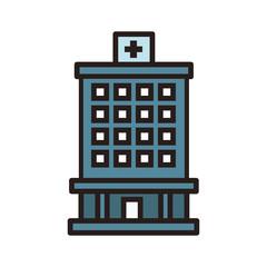 Hospital building symbol line icon vector illustration graphic