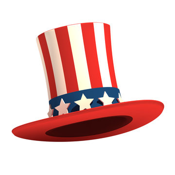President's Day hat on isolated white background