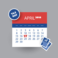 Tax Day Reminder Concept - Calendar Design Template - USA Tax Deadline, Due Date for Federal Income Tax Returns: 17th April 2018