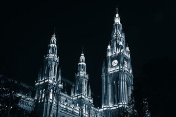 Town Hall facade at night, Vienna