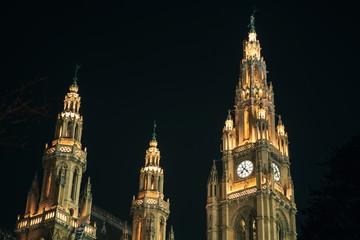 Vienna. Town Hall facade at night