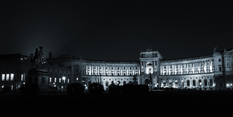 Austrian National Library building at night