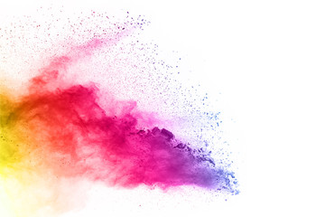 Acrylic Prints Form Colorful powder explosion on white background.