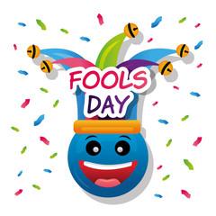 blue emoticon smile hat jester confetti fools day vector illustration