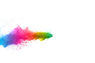abstract powder splatted on white background.