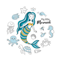 Cute little mermaid with sea animals. Under the sea vector illustration. My little mermaid