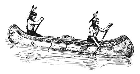 Indianer im Kanu - Indian in canoe