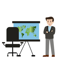 Man businessman and projector with world map Vector