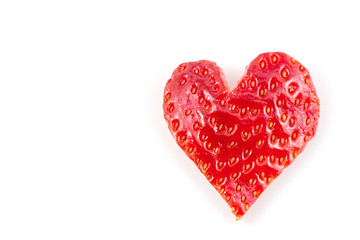 Red strawberry heart isolated on white background in concept valentine's day.