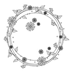 circular frame with flowers decoration vector illustration design