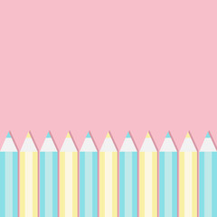 Yellow and blue pencil set frame. Back to school card. Flat design. Pink pastel color background. Isolated template.