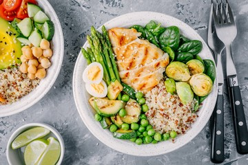 Healthy grilled vegetables buddha bowl with chicken and quinoa, spinach, egg, zucchini, asparagus, Brussels sprouts and green peas