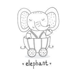 Hand drawn page for coloring book with Cute elephant In the trailer. print for kids