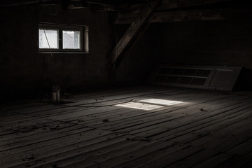 Light through the window in the attic