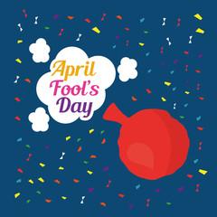 april fools day card cushion bubbles and confetti vector illustration