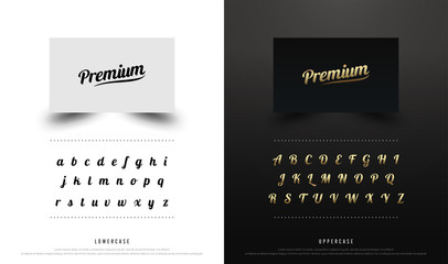Calligraphic alphabet uppercase and lowercase font. Typography classic style collection set for logo, Name card, Poster, Invitation. vector illustrator