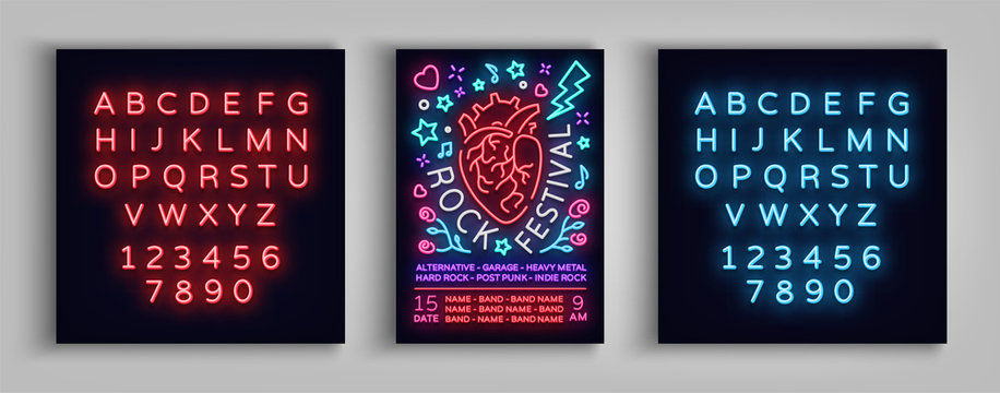 Invitation to Rock Festival. Typography, Poster in neon style, Flyer Design template for rock festival, concert, party, live music. Music Rock and Roll. Vector illustration. Editing text neon sign