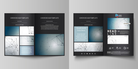 Business templates for bi fold brochure, magazine, flyer, booklet. Cover design template, vector layout in A4 size. DNA and neurons molecule structure. Medicine, science concept. Scalable graphic.