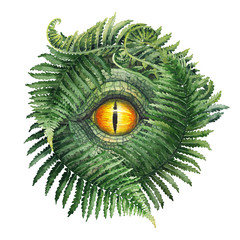 Watercolor dinosaur eye and ferns