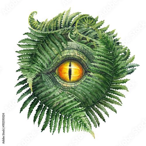 Watercolor dinosaur eye and ferns