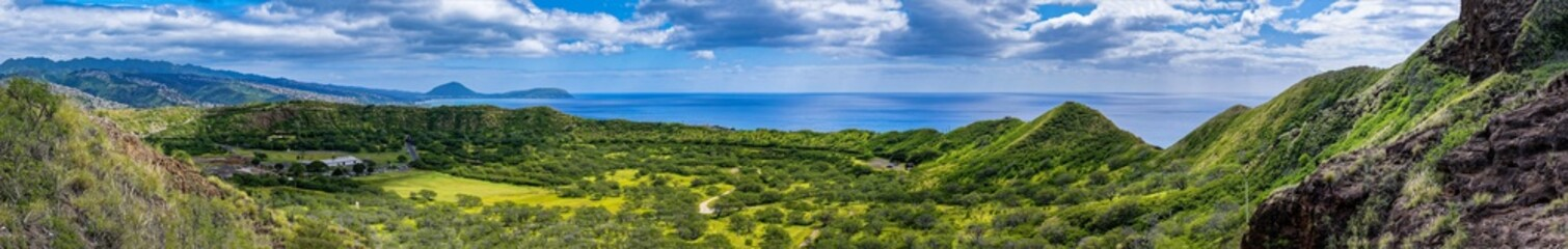 Panoramic view from Diamond Head in Oahu Hawaii