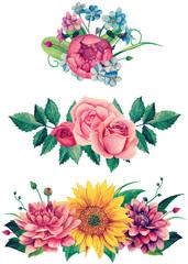 Watercolor floral bouquet clipart. Flowers clip art handpainted