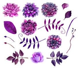 Watercolor Purple Flowers Clipart Floral Clip Art