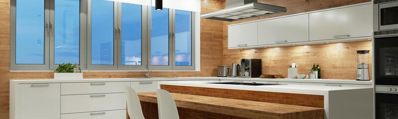 Moderne Küche nachts mit Beleuchtung