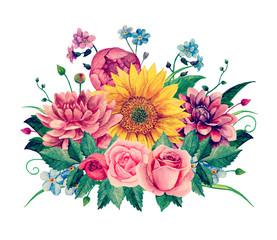 Watercolor floral bouquet clipart. Handpainted flowers clip art