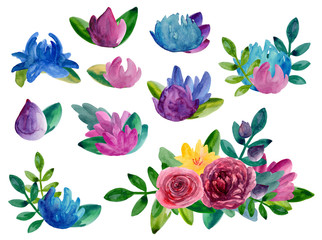 Watercolor abstract flowers bouquets clipart. Floral arrangement isolated