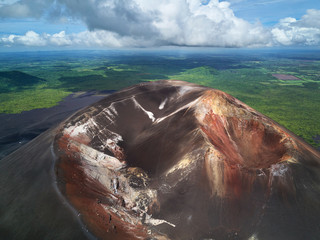 Scenic view on active crater volcano
