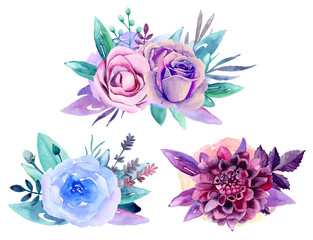 Purple floral bouquet clip art. Blue watercolor flowers arrangement