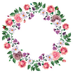 Watercolor wreath pink roses. Hand painted flowers. Floral frame clip art