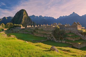 Machu Picchu in morning pink light