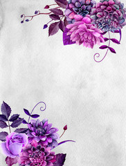 Watercolor purple flowers. Lilac floral bouquet. Greeting card design template